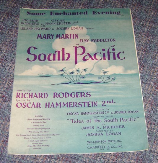 Vintage South Pacific music sheet Rodgers & Hammerstein some enchanted evening