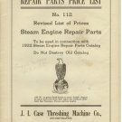 Repair parts price list NO 112 Steam engine parts 1922 J.I case Threshing Machine Co Racine WI