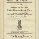 Repair parts price list NO 112 Steam engine parts 1922 J.I case Threshing Machine Co Racine WI