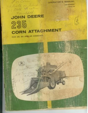 John Deere 235 Corn Attachment for 45 55 & 95 Combines manual OM-N159167