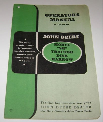 Operators manual John Deere SH Tractor Disk Harrow