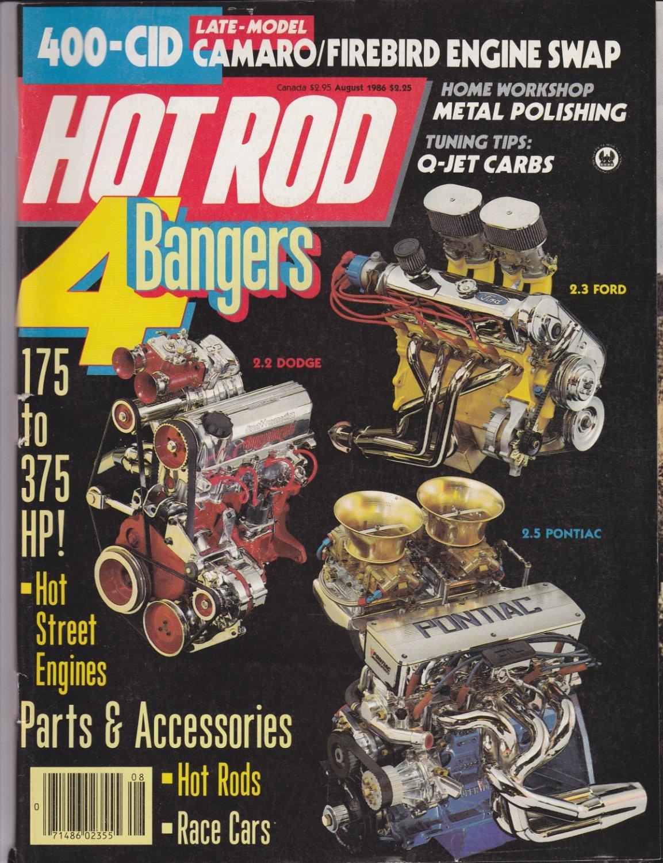 Hot Rod magazine 4 bangers 400 cid camaro/firebird engine swap aug-1986