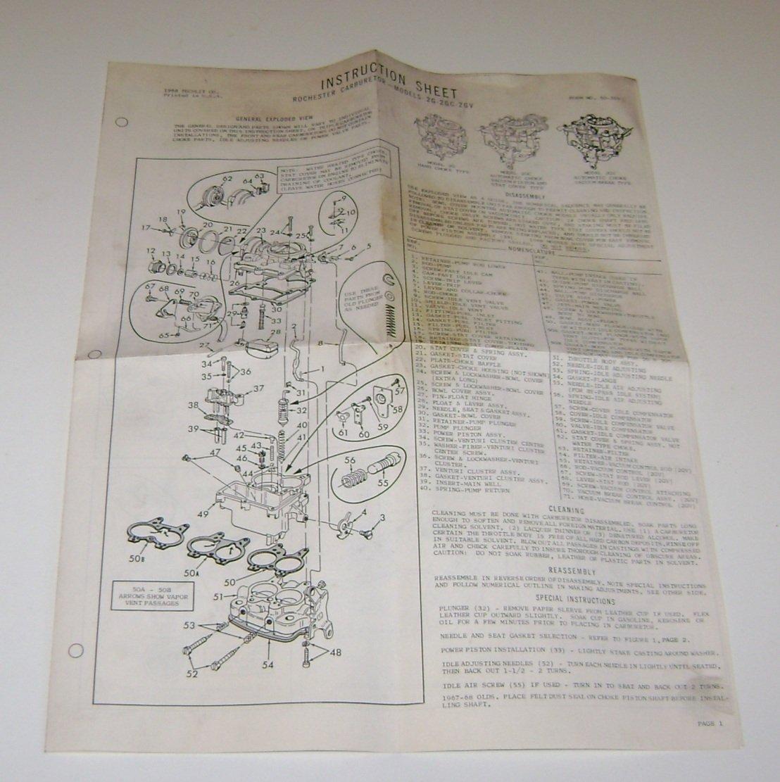 1968 Instruction sheet Rochestor Carburetor model 2G 2GC 2GV