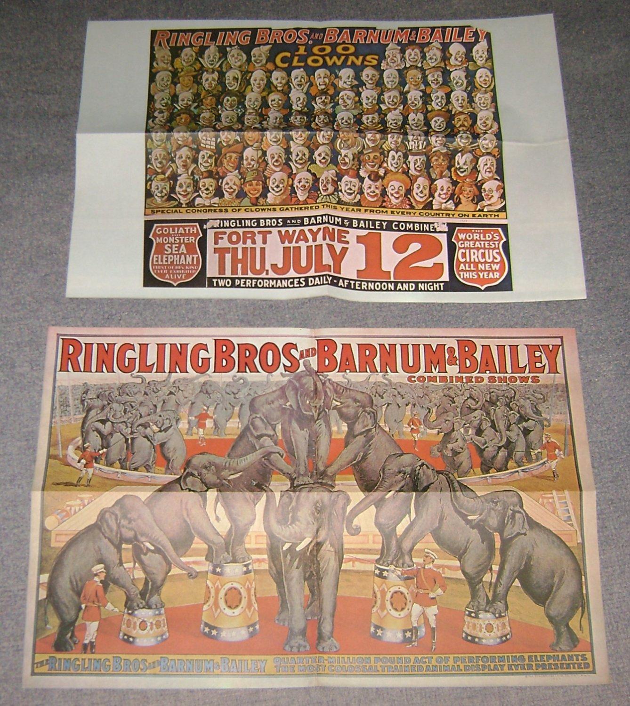 2 Posters Ringling Bros & Barnum & Bailey reprints