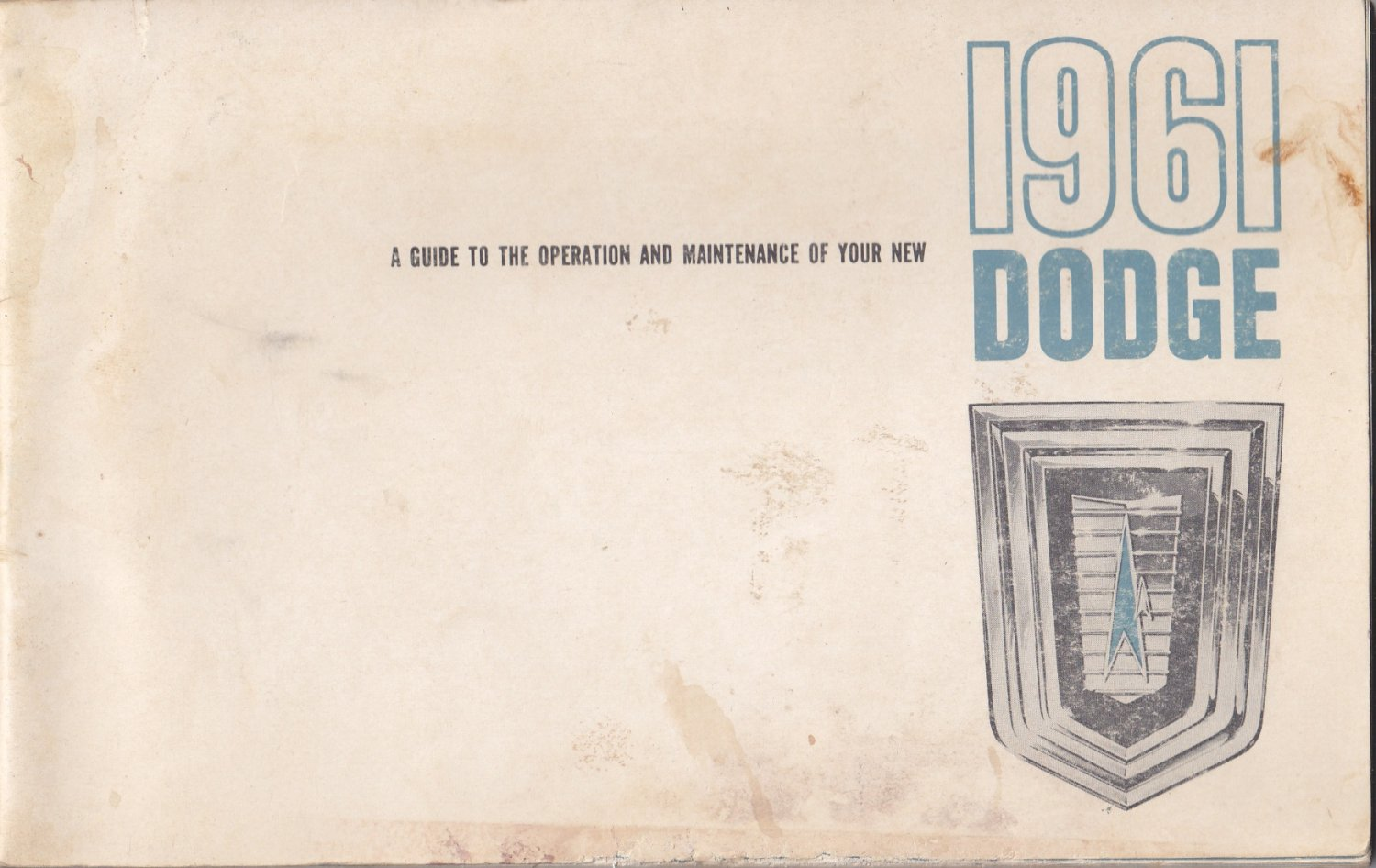 1961 Dodge owners manual