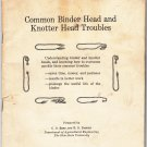 Common Binder Head and Knotter Head Troubles Bulletin No. 87 R. D. Barden C. o. Reed