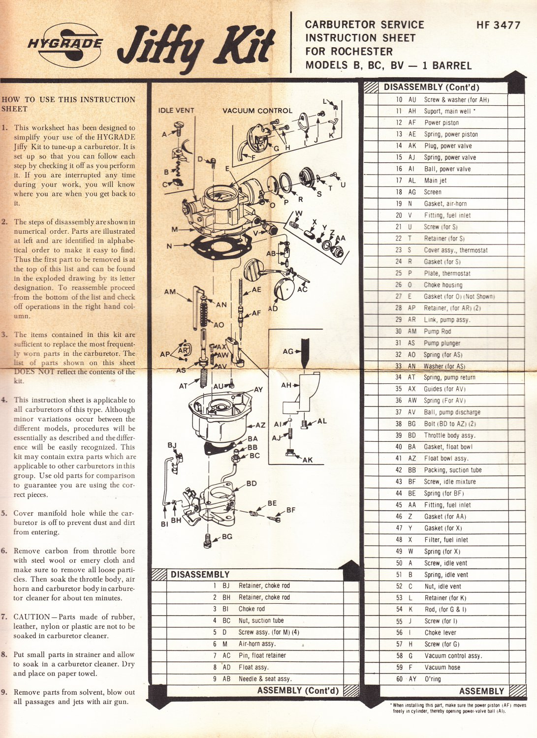 Carburetor instruction sheet Rochester model B BC BV - 1 barrel ...