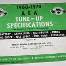 1960 - 1970 A.E.A Tune - Up Specifications Zenith Nixon Carburetor Co Omaha NE