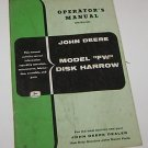John Deere Operators Manual 207 Model FW Disk Harrow