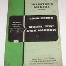 John Deere Operators Manual Model FW disk harrow