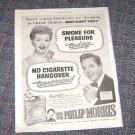 Lucille Ball Desi Arnaz Phillip Morris Cigarette ad 40's Sat Eve Post Magazine