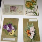 (4) Vintage Postcards general greetings 1909