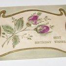 "Vintage Postcard  ""Best Birthday Wishes""  Embossed Flowers & Stems"