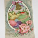 "Vintage Postcard  ""Easter Greetings""  Eggs Bird Flowers and Bell"