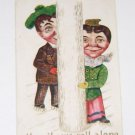 "Vintage Postcard ""Merrily We Roll Along""  Cartoon Couple on Skates"