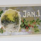 """Vintage Postcard """"Jan 1 New Years Wishes"""" Hollies and Rural Scene"""