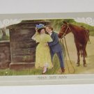 "Vintage Postcard  ""Miss Shy Ann"" Man w/Horse Flirting with Girl"