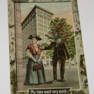 """Vintage Postcard  """"My Time Went Very Quick"""" Couple In Large City Scene"""