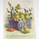 "Vintage Postcard  ""A Happy Easter"" Baby Chicks In Basket"