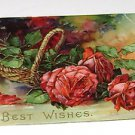 "Vintage Postcard ""Best Wishes""  Red Roses"
