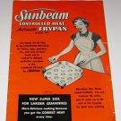 Sunbeam Controlled Heat Frypan Model # FPS Cookbook 1956