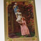 Vintage Postcard Morning Glories 3 Girsl on Ladder early 1900's