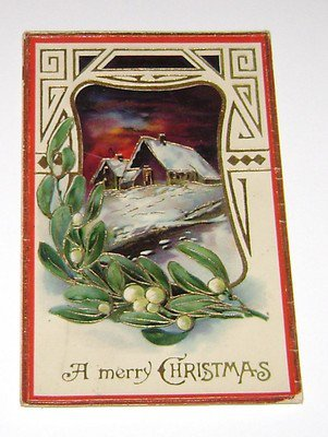 Vintage Christmas Postcard Cabin on a Hill