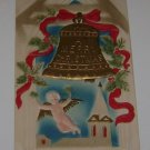 Vintage Christmas Postcard Bell & Angel flying over Chapel 1908