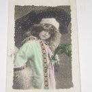 Vintage Postcard  Young Girl fur and feathers (COLOR) early 1900's