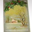 Vintage Christmas Postcard Rural Setting w Mistletoe