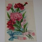 Vintage Postcard Flowers with Stars and Stripes Ribbons PM'd 1909
