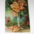 "Vintage Postcard  Best Wishes Roses in Vase ""Embossed""  PM'd 1908"