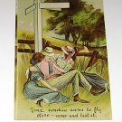 Vintage Postcard Time seems to fly Man with two Girls PM'd 1909