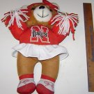 Bear Cheerleader Nebraska Cornhuskers Doll w/Pom Poms