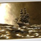 Art Print Sail Ship in a copper bronze hued color