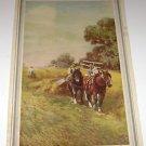 "Vintage Calendar Art Print ""Horses Pulling Hay Cutter"""