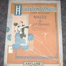 Hesitation D' Amour Waltz J.F Barrie music sheet