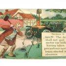 "Vintage Postcard Driver Anchoring Antique Car ""Comedy Card"" 1913"
