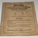 "John Deere Manual B-210 & 220- Series 2 row cultivators for model John Deere ""B"""