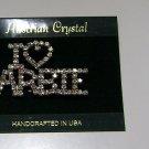 "Austrian Crystal 'I ""Heart"" BARBIE' Brooch Handcrafted USA"