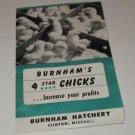 Burnham's 4 star Chicks Burnham Hatchery Clinton Missouri Mailer Ad 1952