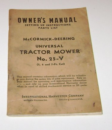 Owners Manual McCormick Deering Tractor Mower No 25-V