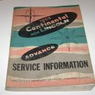 1958 CONTINENTAL AND LINCOLN ADVANCE SERVICE INFORMATION