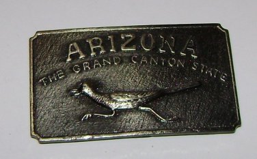 """ARIZONA"" Road Runner BrassBelt Buckle"