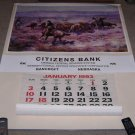 "Charles M Russell ""The Roundup"" Huge Calendar Art Print Bancroft Nebraska Bank"