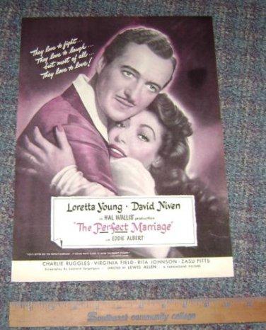 """""""The Perfect Marriage"""" Movie Magazine Ad Loretta Young David Niven"""