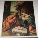 Holy Family Joseph Mary & Baby Jesus in a Manger W/ Cherubs Art Print 1965