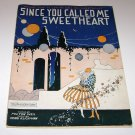 """Music Sheet for Ukulele """"Since You Called Me Sweetheart"""" Milton Weil 1928"""