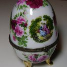Enameled Metal Decorative Egg  Rose Motif & Two Woman in Victorian Style Attire