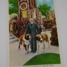 Vintage Postcard Father Dobberstein & St Bernard Dogs